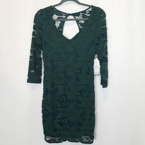 Crystal Doll | Forest Green Lace Mini Lace Dress